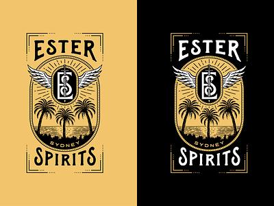 Ester Spirits illustration liquor rum vodka whiskey distilling distillery spirits retro vintage logo