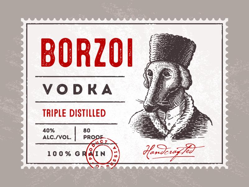 Borzoi Vodka russian vodka label design distilling distllery vodka borzoi hound greyhound vintage character illustration retro logo