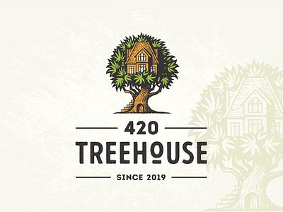 420 Treehouse medical hemp marijuana cannabis house tree vector illustration vintage retro logo