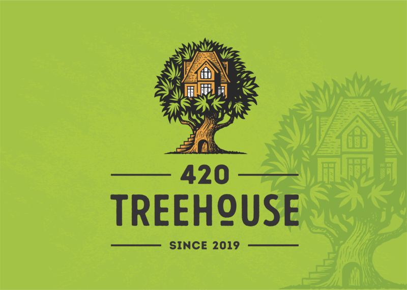 420 Treehouse 420 house hemp medical marijuana marijuana cannabis tree illustration retro vintage logo