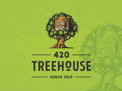 420 Treehouse 420 house hemp medical marijuana marijuana cannabis tree illustration retro vintage logo