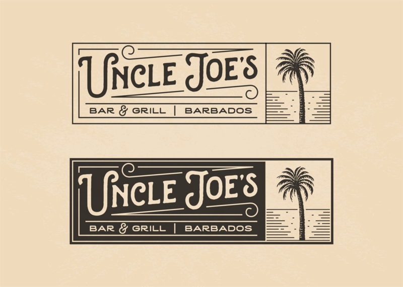Uncle Joe's ocean palm barbados joes uncle grill coffee cuisine food restaurant character illustration vintage retro logo
