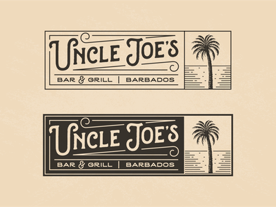 Uncle Joe's ocean palm barbados joes uncle grill coffee cuisine food restaurant character illustration vintage retro logo