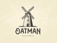 Oatman Bakery oat bread windmill bakery cuisine food character illustration vintage retro logo