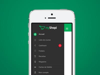 Side menu - myShopi ux ui myshopi menu navigation clean ios7 ios 7