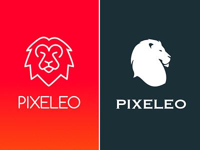 Personal branding plain line leo pixeleo logo lion ux branding