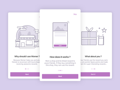 Womer Onboarding line gift shop icon app iphone womer onboarding