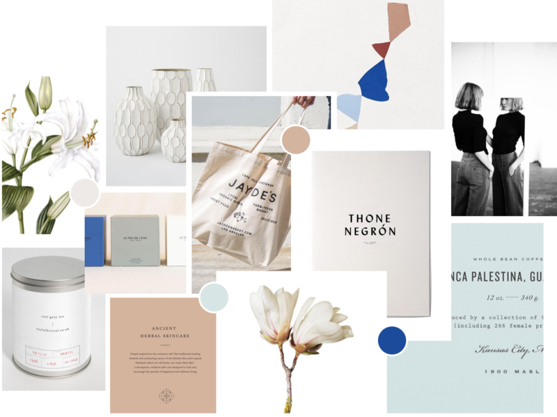Lily House Co. Mood Board herbalism tea botanicals apothocary holistic natural minimalism logo design collage brand design inspiration branding moodboard