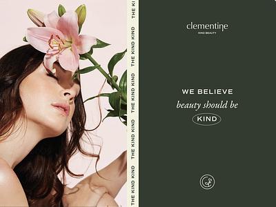 Clementine Kind Beauty Branding design branding design typography logo minimal conscious brands clean beauty logo design brand design packaging feminine branding beauty deodorant skincare