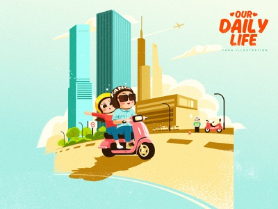 FANG's Daily Life with Mudir_04 life daily couple ai vector illustration design