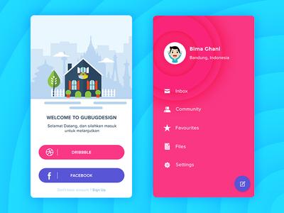 Login and profile app design