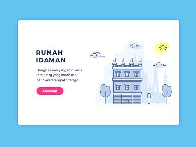 Landing Page Rumah Idaman clean illustration website