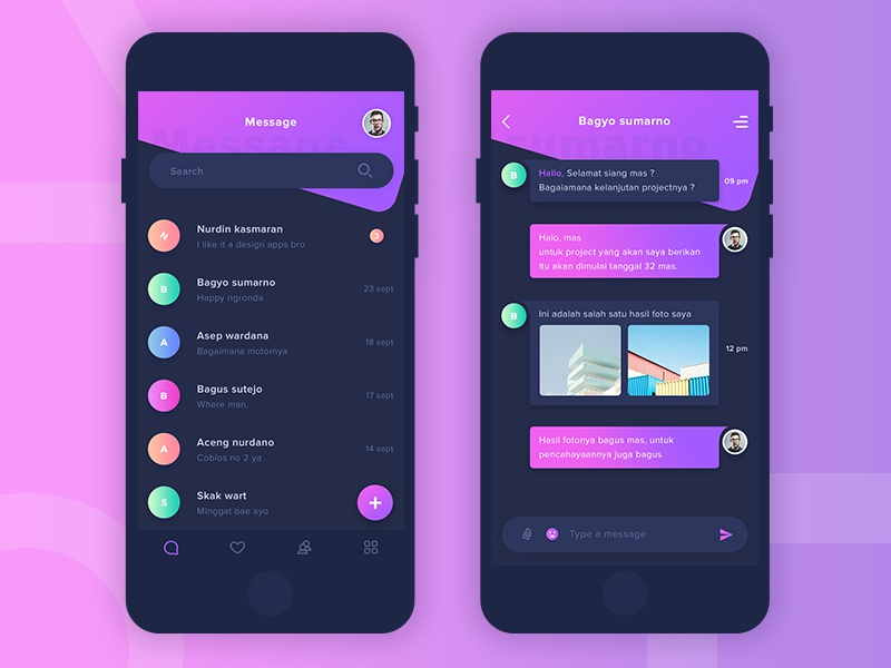 Message Apps Design Dark