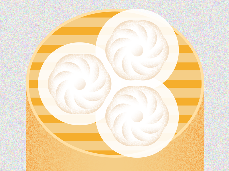 Steamed Bun chinese food grain texture colorful geometry grain clean vector vintage simple design poster life illustration icon geometric cute adobe illustrator