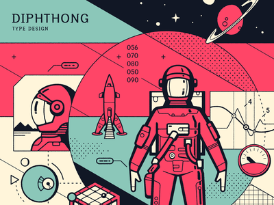 Diphthong Type Design Cover typogaphy print data charts instruments moon sci-fi space retro rocket astronaut science illustration cover
