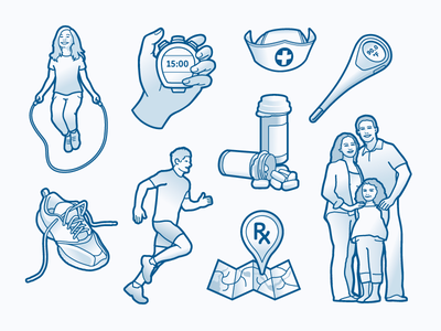 Health Benefits Illustrations running map exercise stopwatch shoe child family benefits health icons illustration