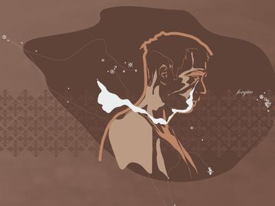 Forgive emotion modes forgive self-portrait pattern brown illustration art
