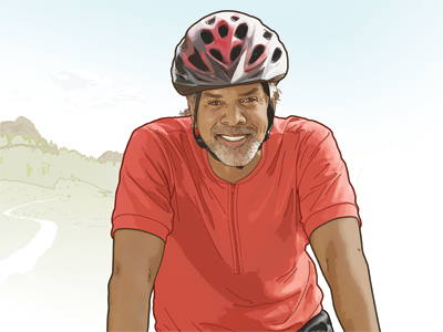 AARP Fitness illustration pencil soft-edge man smile smiling drawing aarp editorial magazine