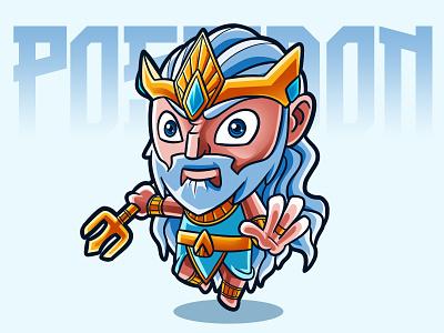 Poseidon design art illustration fanart chibi characterdesign cartoon
