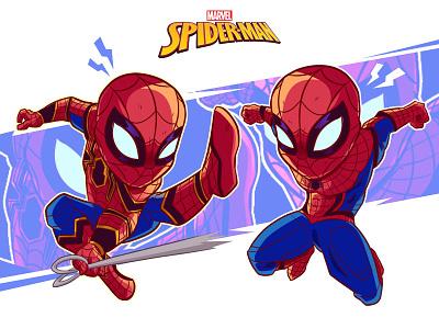 Spiderman Homecoming and Iron Spider spiderman movie fanart marvel cartoon digitalart chibi art illustration design characterdesign