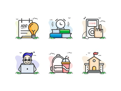 Scene icon,music, tool,books,school,linear learning
