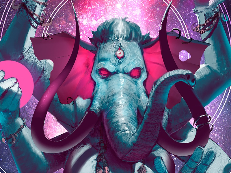 Ganesh digital painting illustration tribal deity god elepant ganesh mythology hindu