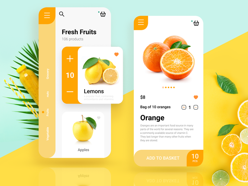Grocery food fruits App Design fruits apple orange lemon booking order vegetable fruit dailyui cards ui design uidesign branding app ui minimal