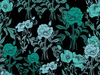 Blue Poppies floral Pattern