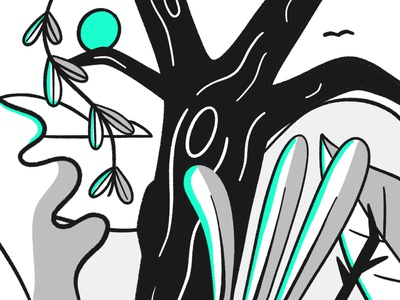 Plants dribbble shot sketch white black cloud hills exotic overgrown grow outdoors plants leaf plant tree jungle forest