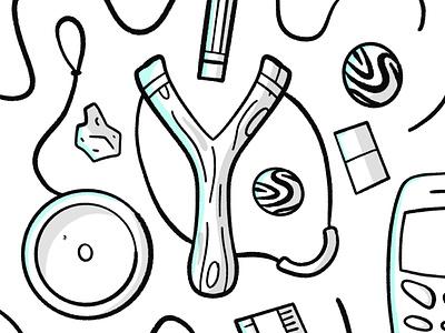 School essentials ruler sketch white black yoyo rock bouncy phone ball rubber slingshot sling stroke illustration vector flat icon dribbble shot