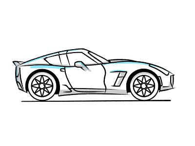Skkrt white tires wheel drive cartoon sport car sport fast speed vehicle motor car stroke illustration vector flat icon dribbble shot