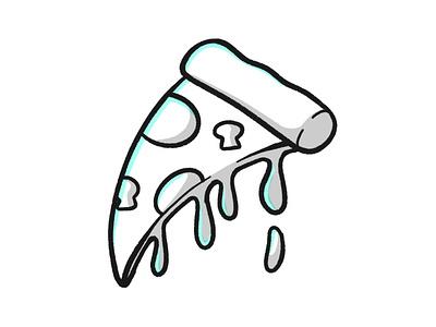 Pizzzaaaaa white black sketch junk fast food meat pepper food pizza stroke illustration vector flat icon dribbble shot