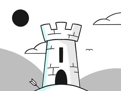 Castle sketch battle history hill cloud arrow scene stone castle stroke illustration vector flat icon dribbble shot