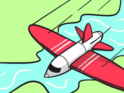 Gliding sky sea land jet zoom sketch fast air fly holiday stroke travel plane illustration vector flat icon dribbble shot