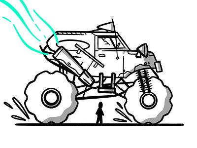 Monster white black sketch speed zoom moove derby smash fast vehicle truck monster truck stroke illustration vector flat icon dribbble shot