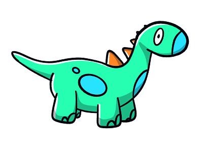 Dinosaur playful sketch colour green extinct dead old dino character history dinosaur stroke illustration vector flat icon dribbble shot