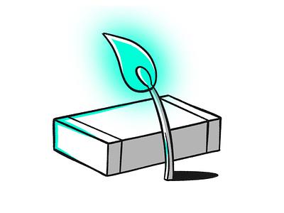 Light source experimenting light match box box stick matchstick sketch blue fire stroke illustration vector flat icon dribbble shot