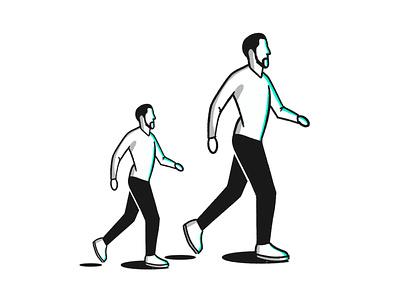 Mini me life people person move portrait human sketch big small walk stroke illustration vector flat icon dribbble shot
