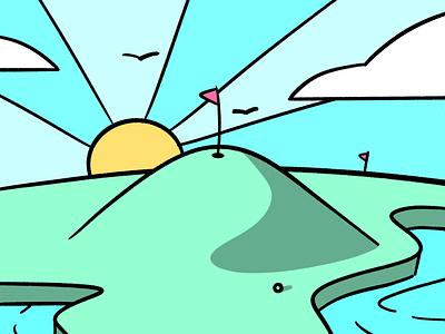 Golf scene ball pond bird cloud sketch hills grass play summer sun scene sport stroke illustration vector flat icon dribbble shot
