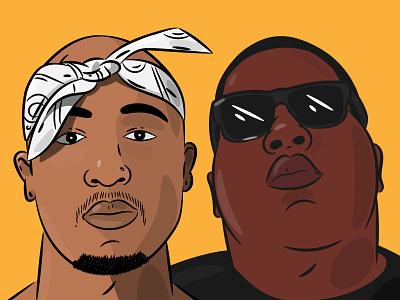 2 of the GOATS artist music lyrics legends 90s rapper biggie smalls tupac rap hop hip hip hop colour stroke illustration vector flat icon dribbble shot