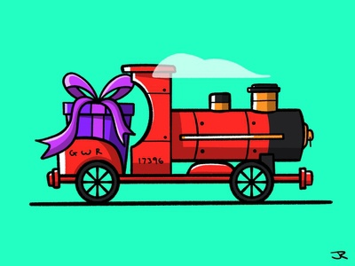 Choo choo sketch steam trains steel childhood toy present automobile vehicle travel colour stroke illustration vector flat icon design dribbble shot