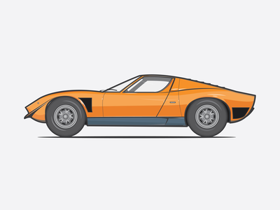 Lamborghini Miura illustrator icons flat dribbble orange print travel lamborghini illustration vector shot car