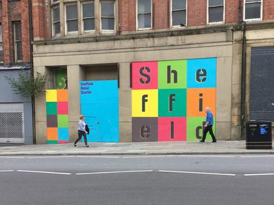 Sheffield retail quarter project mural quarter retail colour vector print shot sheffield hoarding