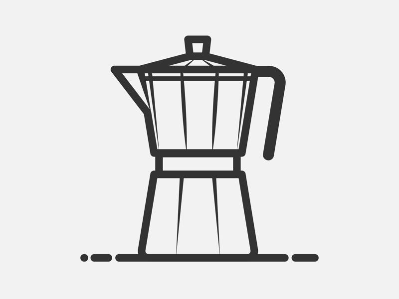 Moka pot metal water bean drink pot coffee vector stroke flat icon shot dribbble