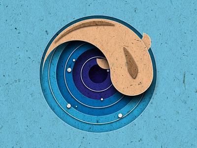 Paper ocean bubble deep blue shot illustration texture recycle swim fish ocean paper dribbble