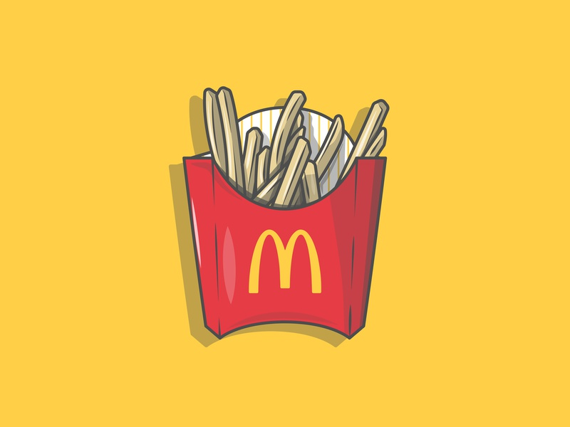 Get in my belly health fat fast food art fast food fires food and beverage mcdonalds chips food colour stroke vector illustration flat icon dribbble shot