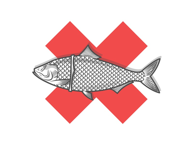 Plastic fishbowl water sea life sea death cross white recycle plastic fish vector illustration flat icon dribbble shot