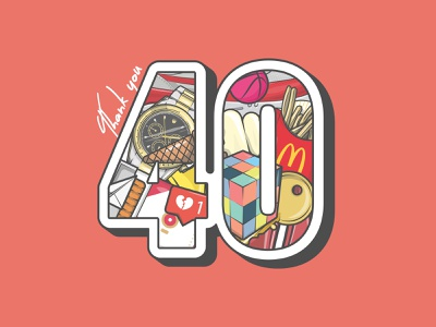 40k instagram thank you milestone thousand 40k type stroke vector illustration flat icon dribbble shot