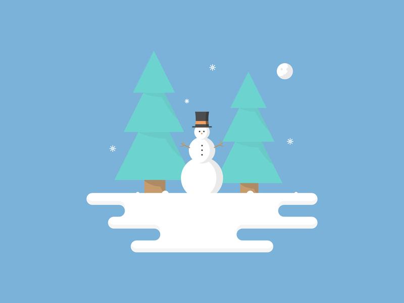 Snow Man snow flake snowing tree landscape scene snowman man snow christmas illustrator colour vector illustration flat icon dribbble shot