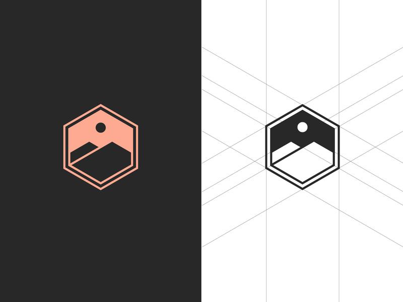 Outdoor badge hike honey bee brandmark grid moutains outdoors badge branding logo travel colour stroke vector illustration flat icon dribbble shot